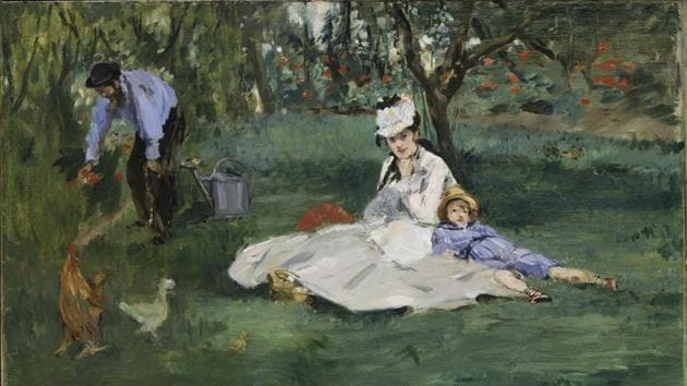 This photo provided by The Metropolitan Museum of Art shows Edouard Manet's 'The Monet Family in Their Garden at Argenteuil,' oil on canvas 1874.(AP)