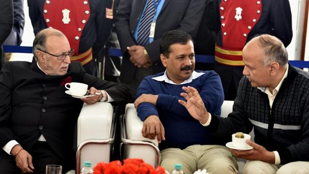A file photo of Delhi Lt. Governor Anil Baijal, chief minister Arvind Kejriwal, and deputy chief minister Manish Sisodia in New Delhi on December 31, 2016.(Sushil Kumar/HT File Photo)