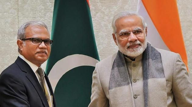 Foreign and special envoy of President of Maldives, Mohamed Asim, with Prime Minister Narendra Modi in New Delhi in January.(PTI File Photo)