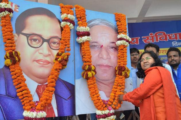 BJP MP Savitri Bai Phule offering tributes to dalit icons Bhimrao Ambedkar and Kansiram during a rally in Lucknow.(File Photo)