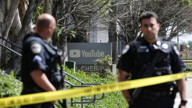 Police officers and crime scene tape seen at YouTube headquarters following an active shooter situation in San Bruno, California, April 3, 2018.(Reuters)