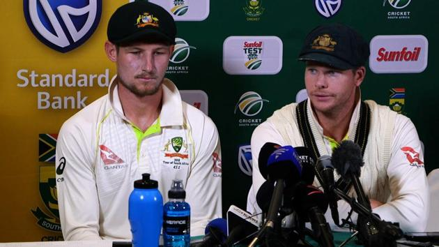 Steve Smith (R), who was removed as captain of the Australian cricket team and handed a one-year ban along with Cameron Bancroft (nine months) for partaking in the ball tampering scandal, said he won't challenge Cricket Australia's sanctions.(AFP)