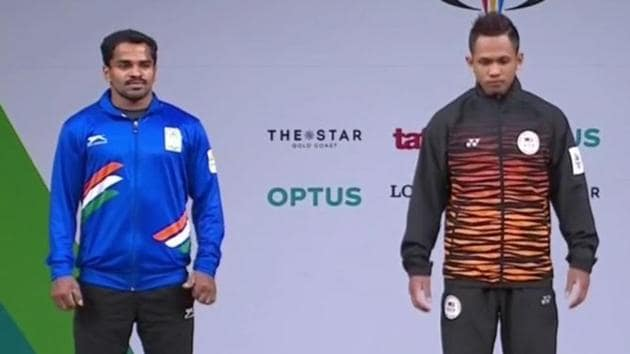 P Gururaja (L) opened India's medal account on the first competition day of the 2018 Commonwealth Games, claiming a silver in the men's 56kg category.(Twitter)