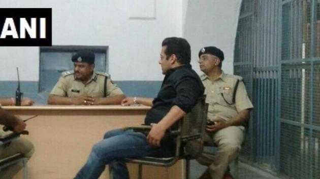 Salman Khan at the Jodhpur Central Jail.(ANI)