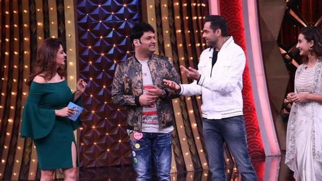Neha Pendse, Kapil Sharma, Abhay Deol and Patralekha during an episode of Family Time With Kapil Sharma.(Sony)