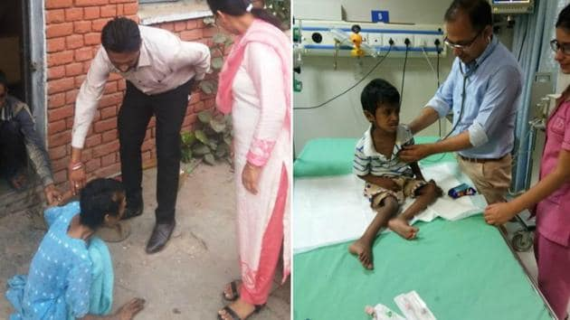 The woman, who was recovered, crawls to life after being rescued (left); and her seven-year-old son being treated at a hospital in Ludhiana.(HT Photos)