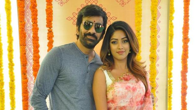 Ravi Teja and Anu Emmanuel pose for a picture at the launch of Telugu actioner Amar Akbar Anthony earlier in March.(RaviTeja_offl/Twitter)