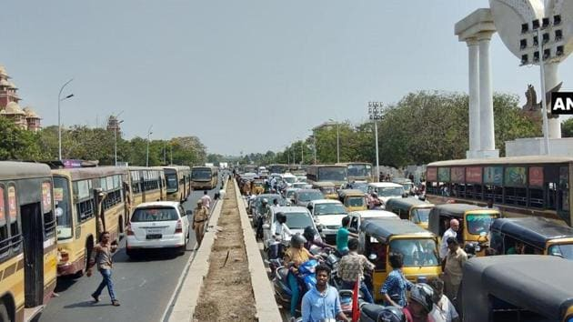 Traffic jam in Chennai due to 'road-roko' protests and demonstrations by opposition parties(ANI Photo)