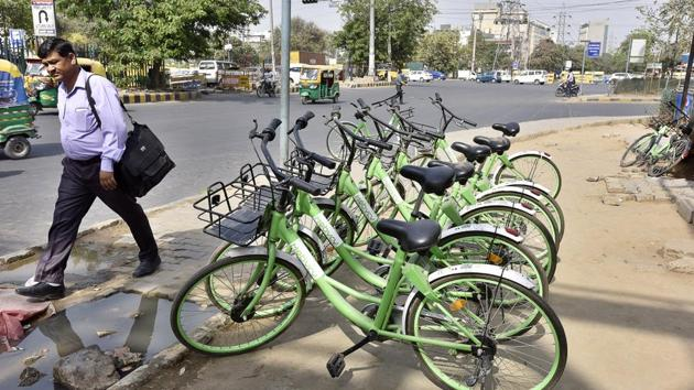 According to company officials, users often leave bicycles in dedicated parking areas and they end up being stolen or misplaced.(Sanjeev Verma/HT PHOTO)