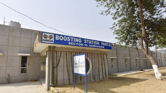 The Sector 16 boosting station will meet the daily needs of New Gurugram that faces acute water shortage.(Sanjeev Verma/HT PHOTO)