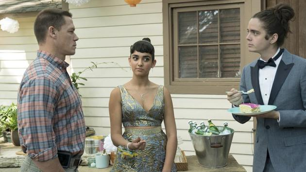 This image released by Universal Pictures shows John Cena, from left, Geraldine Viswanathan and Miles Robbins in a scene from Blockers.(AP)