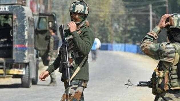 Paramilitary troopers stands guard after a gunfight with militants in Kashmir's Bandipora district last October.(Representational Photo)