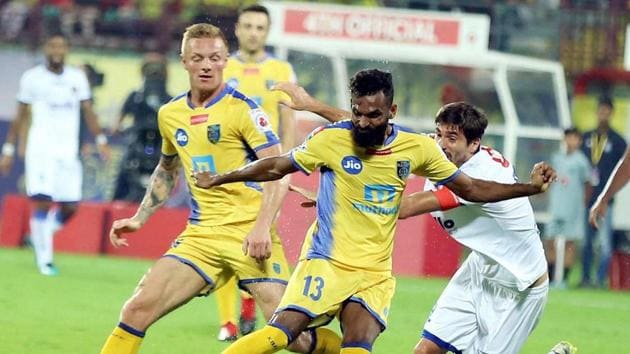 Kerala Blasters FC will be determined to avoid a slip-up against NEROCA, who finished second in the I-League.(PTI)