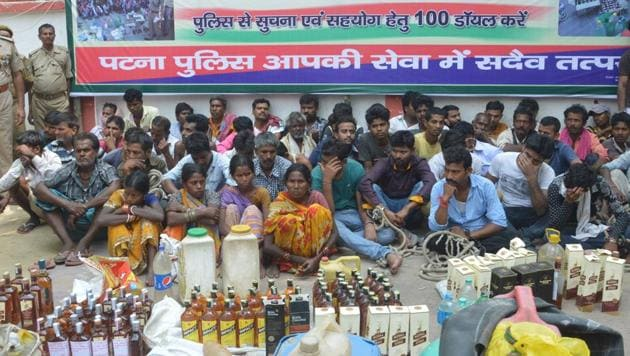 Liquor seized by police at SSP press conference in Patna.(HT File Photo)