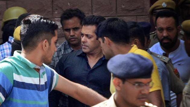 Bollywood actor Salman Khan is taken away from the court after he was awarded five years in jail in a poaching case, in Jodhpur on Thursday.(PTI)