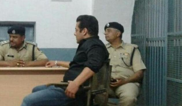 Salman Khan at the Jodhpur Central Jail after being convicted in blackbuck poaching case.(ANI)