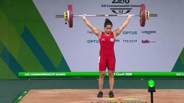 Get highlights of 2018 Commonwealth Games, taking place in Gold Coast, here. Sanjita Chanu won India's second gold medal at the 2018 Commonwealth Games in Gold Coast today.(Twitter)
