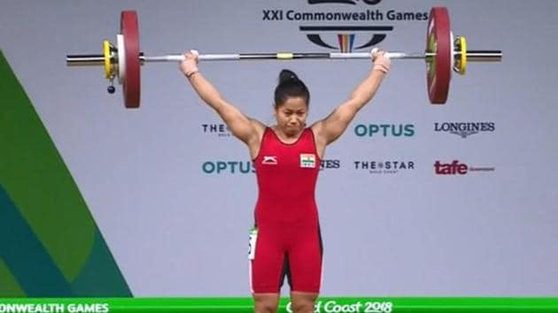 Sanijta Chanu won India's second gold medal in the 2018 Commonwealth Games, finishing first in the women's 53 kg weightlifting finals.(Twitte)