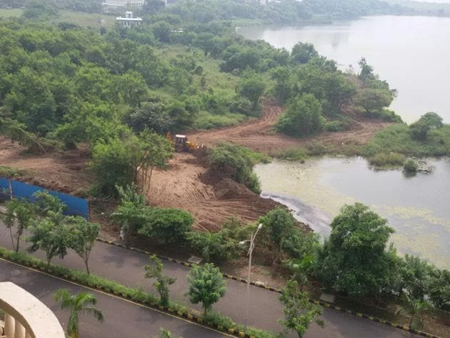In February, the state mangrove cell had asked Cidco to remove the debris but they did not.(HT PHOTO)