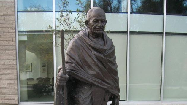 The Gandhi statue at Carleton University in Ottawa, unveiled on October 2, 2011, was donated by the Indian government through the Indian Council of Cultural Relations.(Courtesy: MGPC/Gandhiji.ca)
