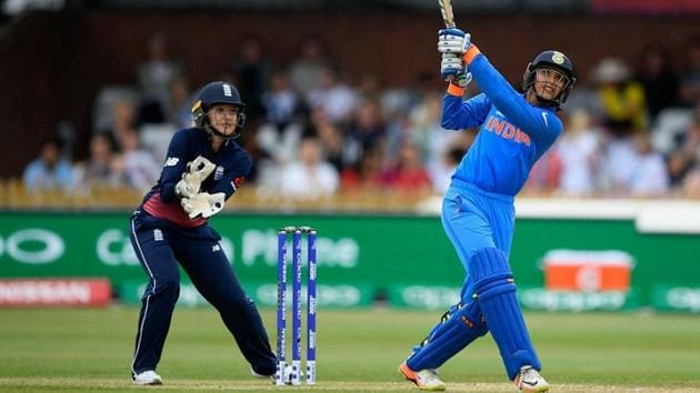 Smriti Mandhana cracked five fours and four sixes in her 86-run knock as the India women's cricket team beat England by one wicket in the first ODI in Nagpur, on Friday (April 6).(Twitter)
