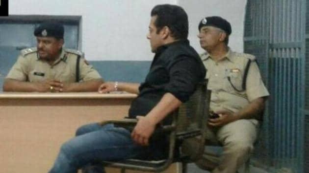 Salman Khan inside Jodhpur Central Jail on Thursday.(ANI Twitter)