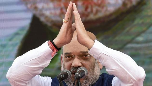 BJP president Amit Shah gestures as he speaks during the BJP's 38th Foundation Day celebrations in Mumbai.(PTI Photo)
