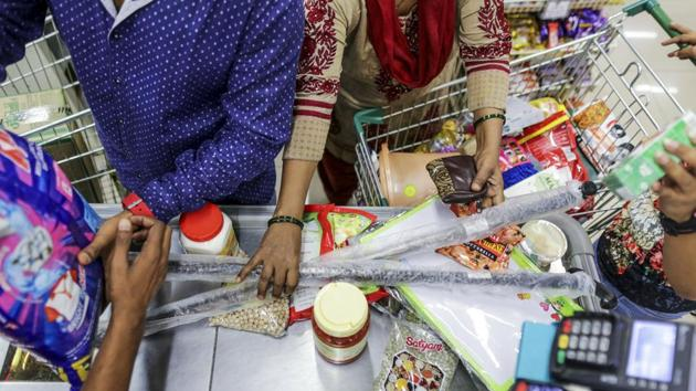 Avenue Supermarts Ltd., operating DMart chain of supermarkets, now trades at a 12-month blended forwards price-to-earning of 80.5, higher than even its own average of 70, as per data compiled by Bloomberg.(Dhiraj Singh/Bloomberg)
