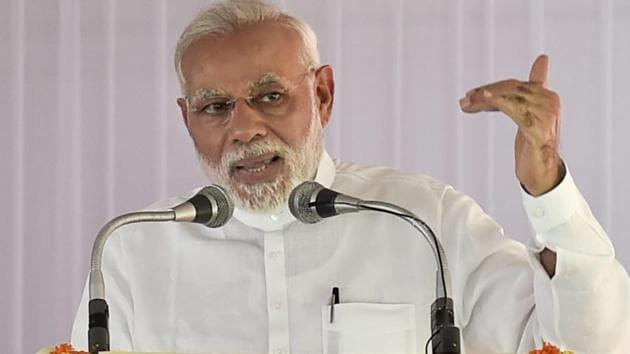 Prime Minister Narendra Modi addresses a gathering in New Delhi on Wednesday.(PTI)