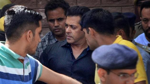Bollywood actor Salman Khan is taken away from a Jodhpur court after he was awarded five years in jail in the poaching case on Thursday.(PTI)