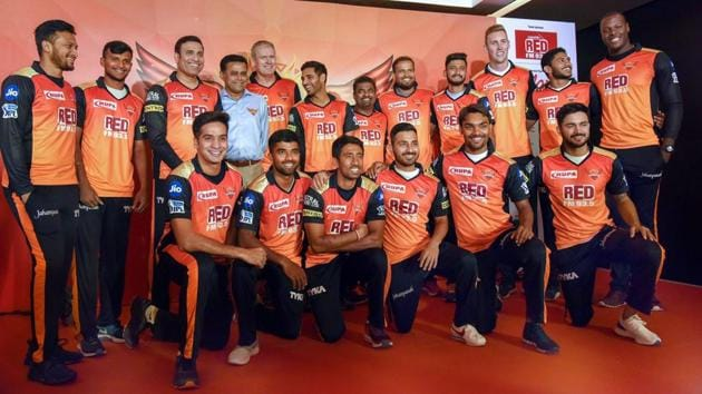 Hyderabad: Sunrisers Hyderabad (SRH) team mentor VVS Laxman, head coach Tom Moody, bowling coach Muttiah Muralitharan and the players pose for a group photograph at a Media conference in Hyderabad on Thursday, ahead of the eleventh edition of Indian Premier League (IPL).(PTI)
