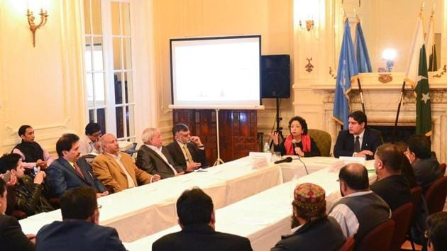 Pakistan's envoy to the United Nations Maleeha Lodhi at a meeting at the Pakistan Mission to mark Kashmir Solidarity Day, in New York on Friday.(Maleeha Lodhi/Twitter)