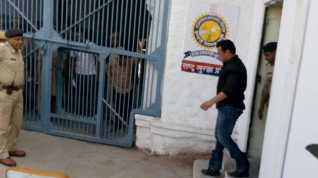Actor Salman Khan at Jodhpur Central Jail after being convicted in the blackbuck poaching case. This is Salman's fifth stint in jail, on charges such as poaching and killing a pedestrian in a hit-and-run case in 2002 in Mumbai.(HT Photo)