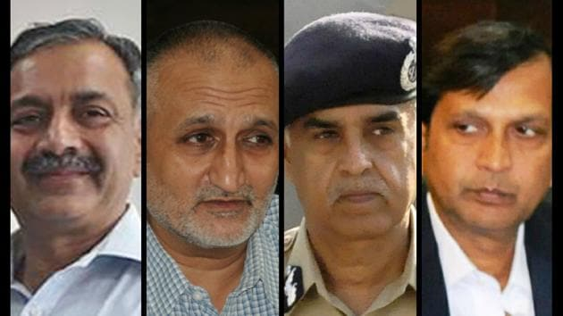 DGP (HRD) S Chattopadhyaya, ADGP Harpreet Sidhu appear to be on one side; DGP Suresh Arora and DGP (Intel) Dinkar Gupta on the other.(HT Photo)