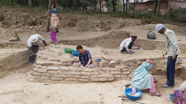 The Lakshagriha Excavation Project of the ASI is located in Barnava village in Uttar Pradesh.(HT Photo)