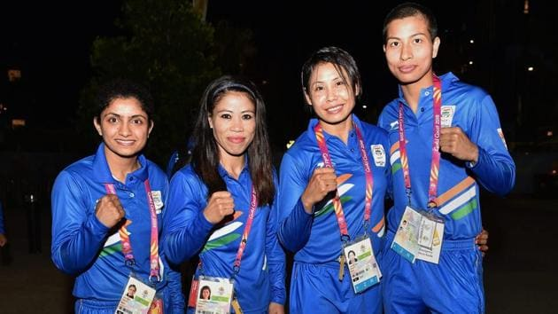 Mary Kom (2L) has never won a Commonwealth Games medal as she did not qualify when women's boxing was first introduced in 2014 at Glasgow.(PTI)