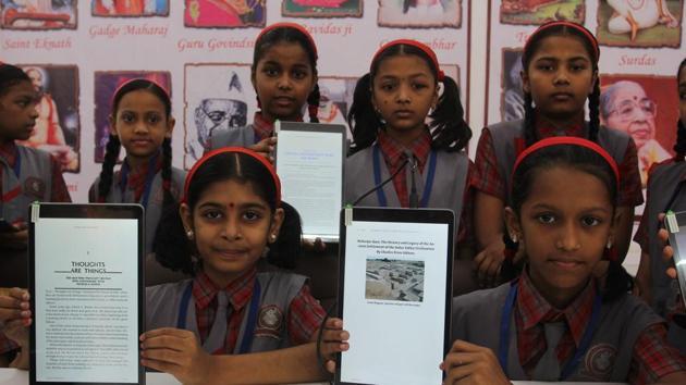 Students of BSM English School in Ghantali, Thane, will soon read books on tabs.(Praful Gangurde/HT)
