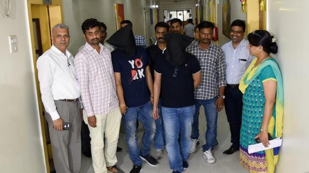 Economic Offences Wing (EOW) and Cyber Cell of the Pune police arrested the alleged cryptocurrency mastermind and director of firm Gain Bitcoin, Amit Bhardwaj, in connection with a multi-crore cryptocurrency scam reportedly worth over ₹2,000 crores. Bhardwaj was arrested by the Pune police from the Delhi airport after he returned to the national capital from another country on Wednesday.(Sanket Wankhade/HT PHOTO)