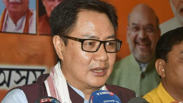 Union minister of state for home affairs Kiren Rijiju addresses a press conference in Guwahati.(PTI Photo)