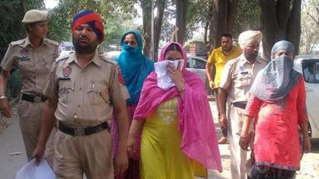The accused being taken to the Kharar court on Friday.(HT Photo)