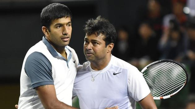 Rohan Bopanna and Leander Paes notched up a hard fought win in the doubles contest as India staged a remarkable reovery to beat China 3-2 and seal their spot in the World Group play-offs.(Getty Images)