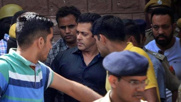 Salman Khan is taken away from the court after he was sentenced to five years in jail in decades-old poaching case in Jodhpur on Thursday.(PTI Photo)