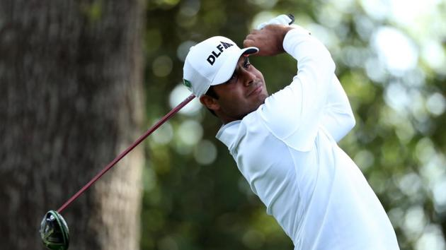 Shubhankar Sharma hits off the second tee during second round of the 2018 Augusta Masters golf tournament at the Augusta National Golf Club in Georgia, US, on Friday.(REUTERS)