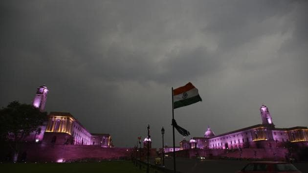 A view of North and South Block during the sudden rain at Rajpath in New Delhi on Friday.(Raj K Raj/HT Photo)