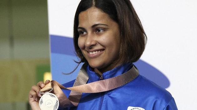 India's Heena Sidhu poses with the silver medal after the women's 10m Air Pistol final at the Belmont Shooting Centre during the 2018 Commonwealth Games in Brisbane, Australia, on Sunday.(AP)