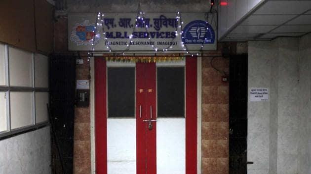 The MRI centre of Nair Hospital where Rajesh Maru, was sucked into the MRI machine.(HT FILE)