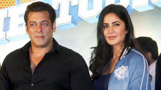 Salman Khan, Katrina Kaif and Sonakshi Sinha during a press conference of Da-Bangg The Tour Pune in Pune.(PTI)