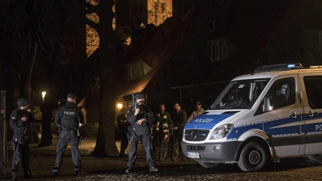 Police guard in downtown Muenster, Germany, Saturday.(AP Photo)