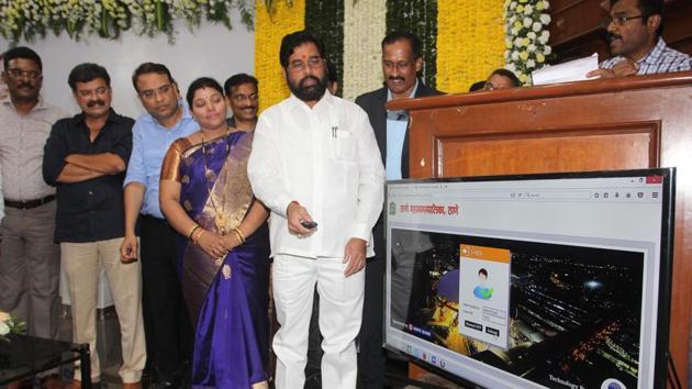 Thane guardian minister Eknath Shinde inaugurates the property tax app at TMC headquarters on Saturday.(Praful Gangurde/HT)