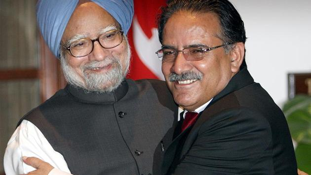 Manmohan Singh hugs Pushpa Kamal Dahal 'Prachanda' at Hyderabad house in New Delhi in September 2008. Both men were prime ministers at the time, and it was the Nepal leader's first visit to India after becoming PM.(Sunil Saxena/HT File Photo)